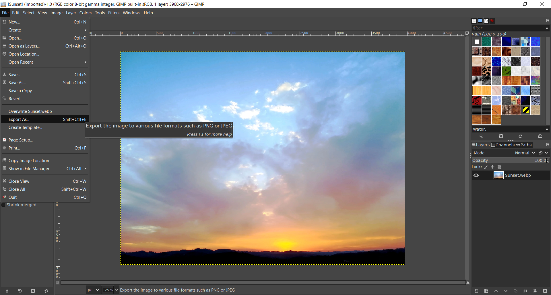 How to convert WEBP to PNG using GIMP?
