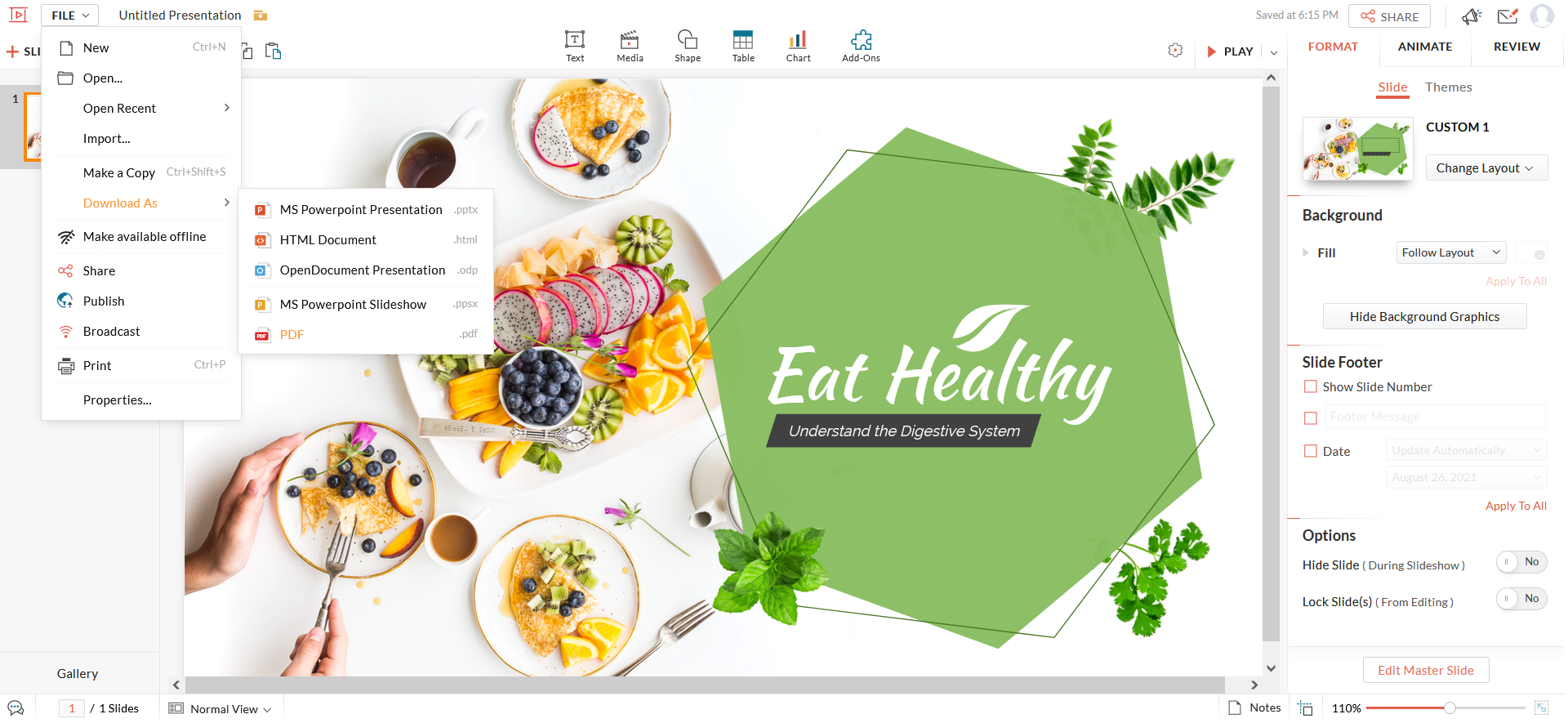 Make PowerPoint online using Zoho Show