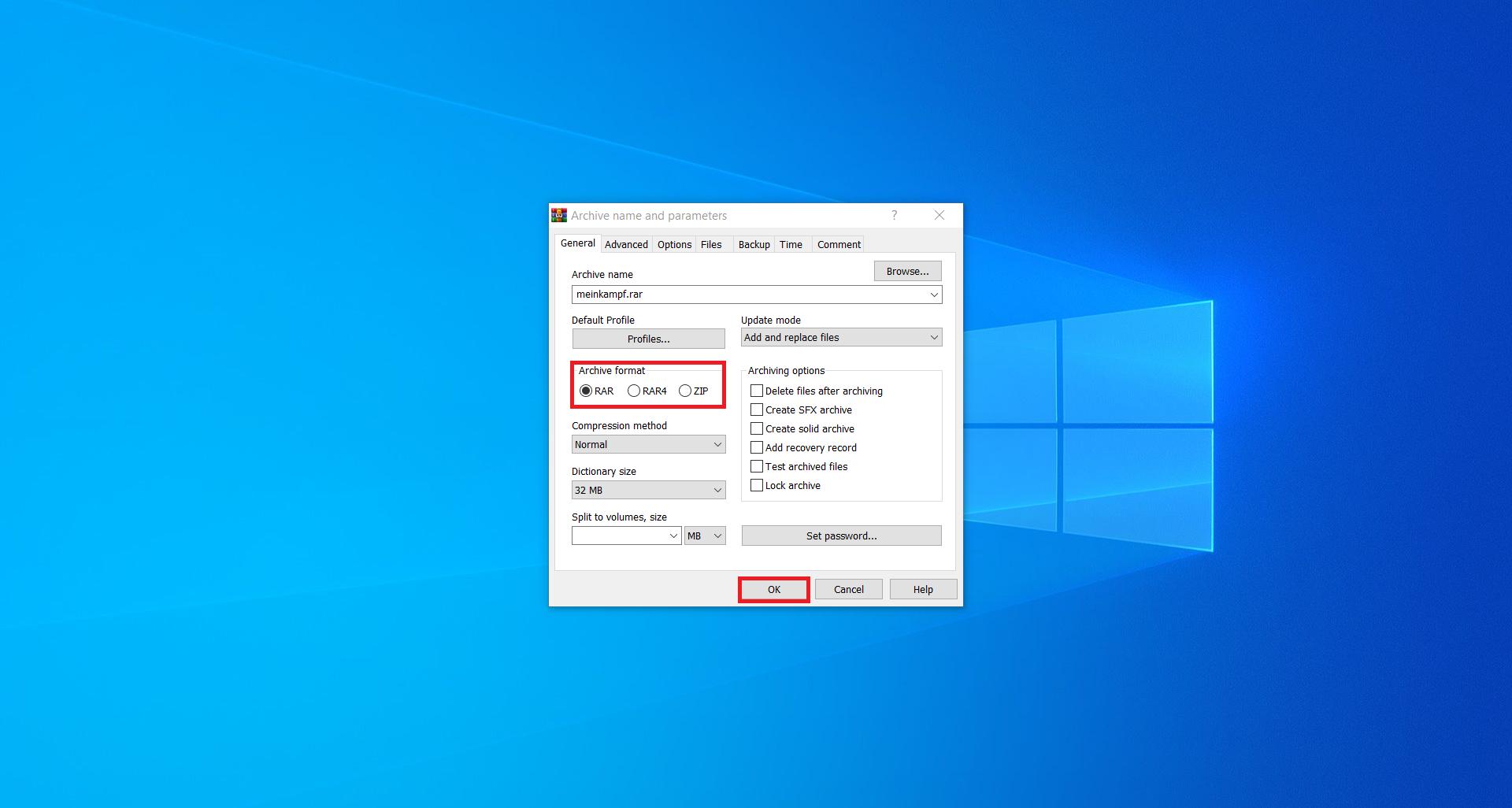 How to convert EPUB to RAR files using WinRAR?